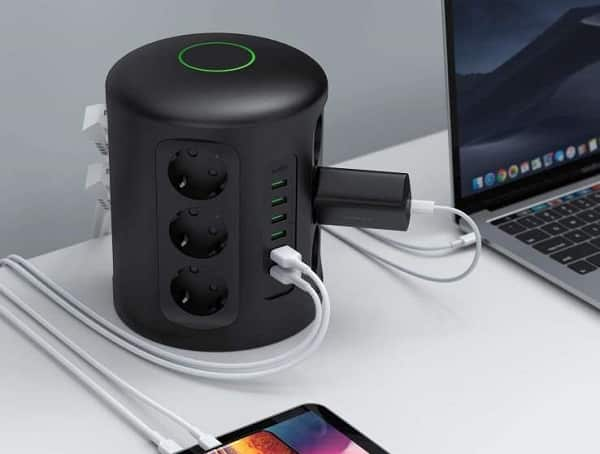 Aukey Tour Multiprise Avec Protection Parafoudre, 6 Ports De Charge Usb Et 12 Pr
