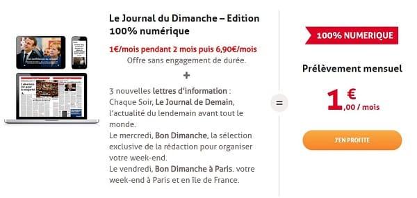 Abonnement Le Journal Du Dimanche – Edition 100% Numérique 1€