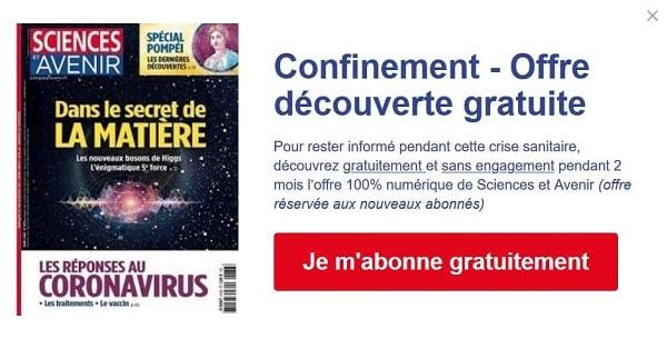 Abonnement Magazine Sciences Et Avenir Gratuit Pendant 2 Mois Version Numérique + Accès à Tous Les Articles Du Site
