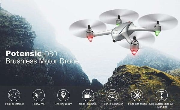 Drone Potensic D80 Avec Fonction Suivez Moi, Camera Hd 2k, Fpv, Wi Fi, Gps + Valise