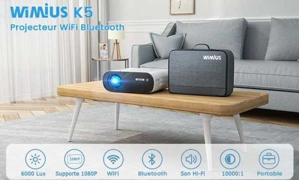 vidéoprojecteur home cinéma wimius k5 wifi bluetooth 6000 lumens
