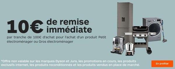 10€ De Remise Immédiate Tous Les 100€ D'achat Pour L'achat Petit Ou Gros électroménager Sur Boulanger