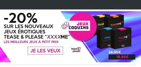 20% De Remise Sur Les Jeux Coquins Avec Accessoires Tease & Please