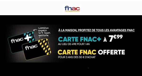 Bon Plan Carte Adhérent Fnac+ à 7,99€ Au Lieu De 49€ Pour Avoir Des Remises, Avantages Et Livraison Gratuite Sans Minimum Pendant 1 An !