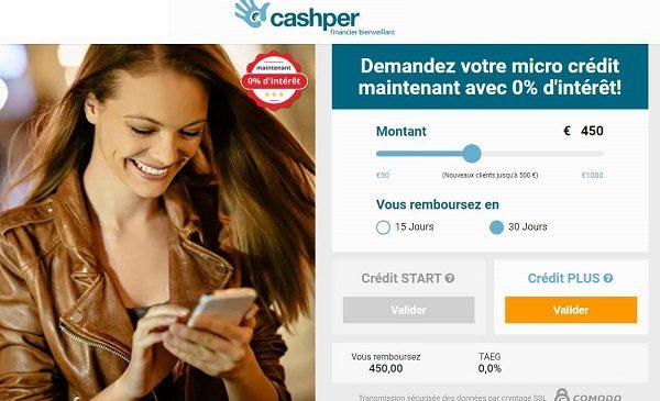 Mini Prêt à 0% D'intérêt Jusqu'à 500€ (demande En Ligne) Avec Cashper