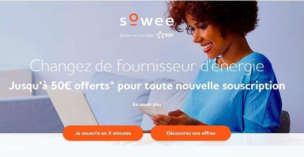 Nouveau Client Sowee (edf) Jusqu'à 50€ Offerts Sur La Souscription D'un Contrat D'énergie
