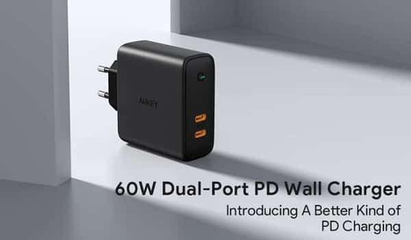 Chargeur Mural Dual Usb C 60w Power Delivery Aukey Pa D5