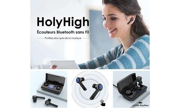 écouteurs Bluetooth Sans Fils Holyhigh A1 (bluetooth 5.0, Boitier De Charge 25 Heures D'autonomie)