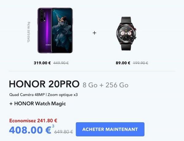 Pack Smartphone Honor 20 Pro (8go+256go) Et Montre Connectée Honor Watch Magic