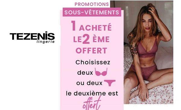 1 Acheté = Le 2ème Offert Sur Les Sous Vêtements Tezenis