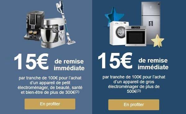 15€ De Remise Immédiate Tous Les 100€ D'achat Pour L'achat Petit Ou Gros électroménager Sur Boulanger