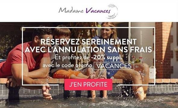 20% De Remise Supplémentaire Sur Madame Vacances Et Annulation Sans Frais