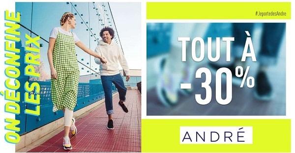 30% De Remise Sur Tout Le Site André + Livraison Gratuite