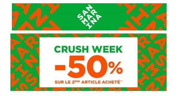 Crush Week San Marina 50% De Remise Sur Le Second Article
