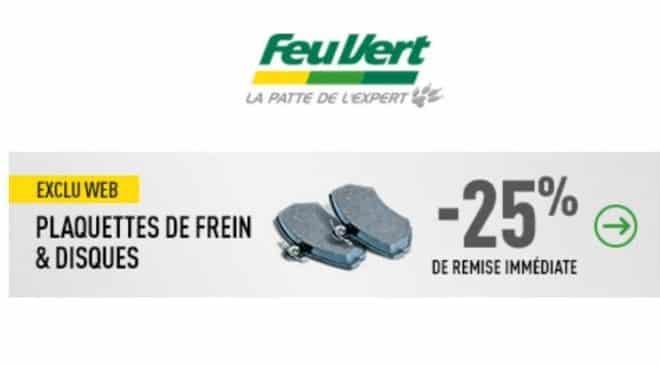 Offre spéciale freinage Feu Vert : 25% de remise immédiate sur les plaquettes et disque de frein (en ligne)