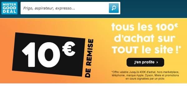 Remise Immédiate De 10€ Sur Mistergooddeal Par Tranche De 100€