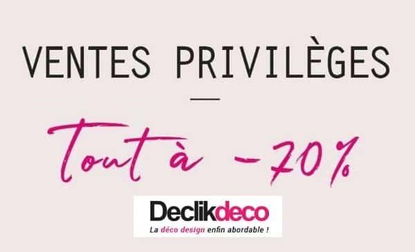 Ventes Privilèges Declikdeco : -70% sur plus de 200 articles (objets déco, mobilier, luminaire, linge…)