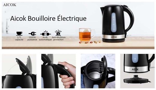Bouilloire électrique Rapide Sans Fil Aicok 1,7l