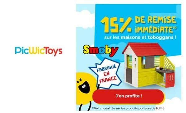 15% De Remise Immédiate Sur Toutes Les Maisons Et Toboggans Smoby