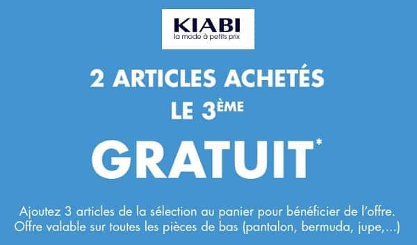 2 Articles Achetés = Le 3ème Gratuit Sur Kiabi (sur Les Pantalons, Bermudas, Jupes, Robes)