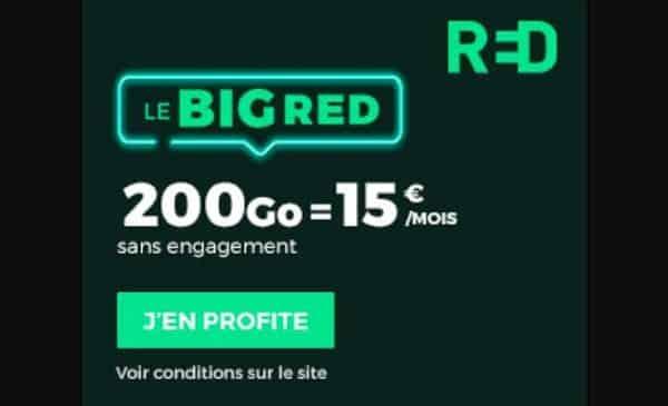 ALERTE BON PLAN FORFAIT !  BIG RED SFR 200Go = 15€ avec appels, SMS et MMS illimité (A VIE)