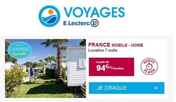 Offre Flash Camping Paradis Sur Leclerc Voyages