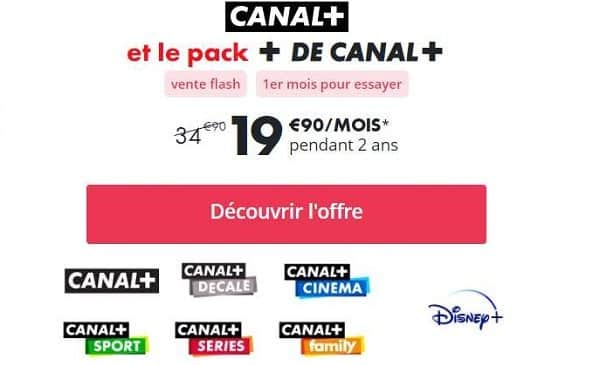 Vente Flash Canal+ Disney+ Pack 6 Chaines Canal + Disney +
