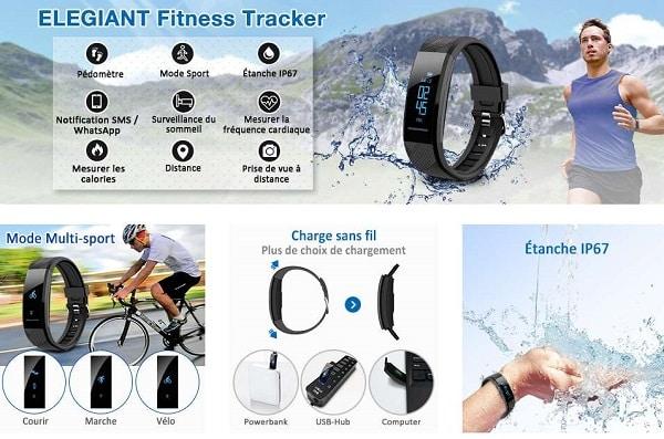 Bracelet Connectée Fitness Tracker D'activité Elegiant C10