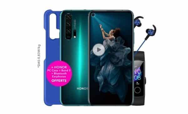 Smartphone Honor 20 Pro (8go+256go) Bracelet Connecté Honor Band 5 écouteur Bluetooth Coque