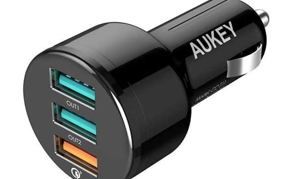 Triple Port Usb Chargeur Sur Allume Cigare Aukey Cc T11