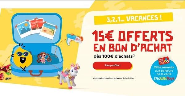 15€ Offerts En Bon D'achat Dès 100€ D'achat Sur Picwictoys
