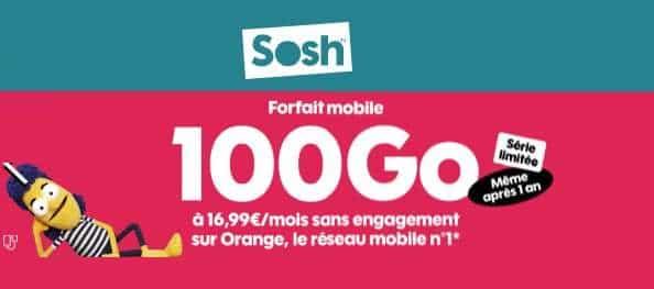 Forfait Série Limitée Sosh 100go +15go En Europe