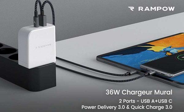 Chargeur Usb 2 Ports 36w Rampow Rba24