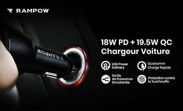 Chargeur Allume Cigare Usb C Power Delivery + Usb A Rampow C03