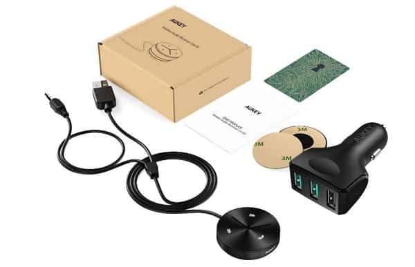 Chargeur De Voiture 3 Port Usb Avec Kit Main Libre Récepteur Bluetooth Aukey Br C8