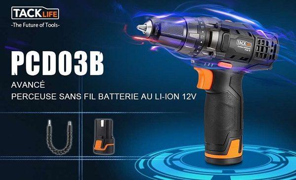 Coffret Perceuse Visseuse Sans Fil + 2 Batteries Et 14 Accessoires Tacklife Pcd03b 12v