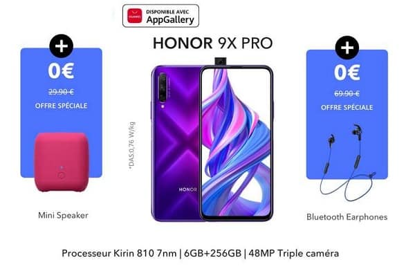 Smartphone Honor 9x Pro (6go+256go) écouteur Bluetooth Honor Enceinte Bluetooth Honor