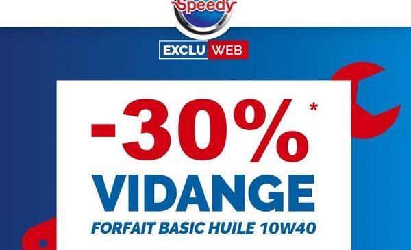 30% Remise Sur Le Forfait Vidange Basic Chez Speedy