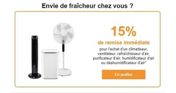 5% De Remise Immédiate Pour L'achat D'un Climatiseur, Ventilateur, Rafraîchisseur, Purificateur, Humidificateur Ou Déshumidificateur