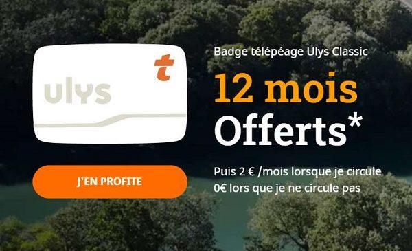 offre badge télépéage ulys classic 12 mois offerts