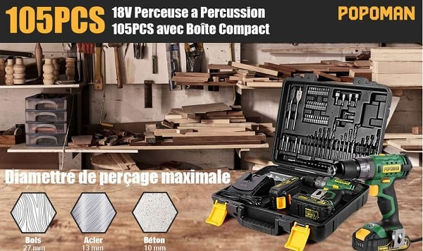 Coffret Perceuse à Percussion Visseuse Sans Fil 18v Popoman