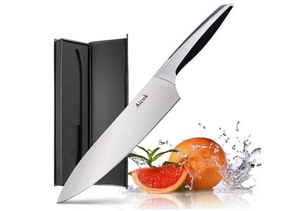 Couteau De Cuisine Aicok Lame 20 Cm Acier Inoxydable De Haute Teneur En Carbone