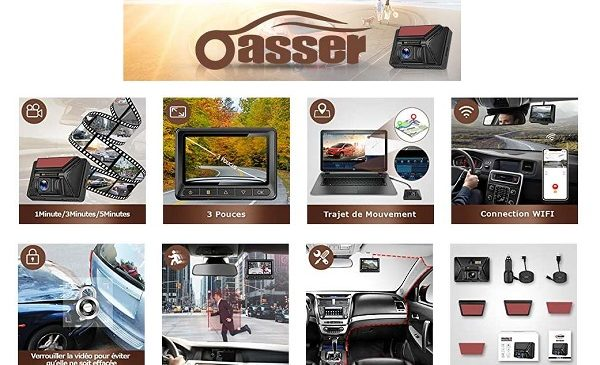 Dashcam Camera De Voiture Gps Wi Fi Oasser U3