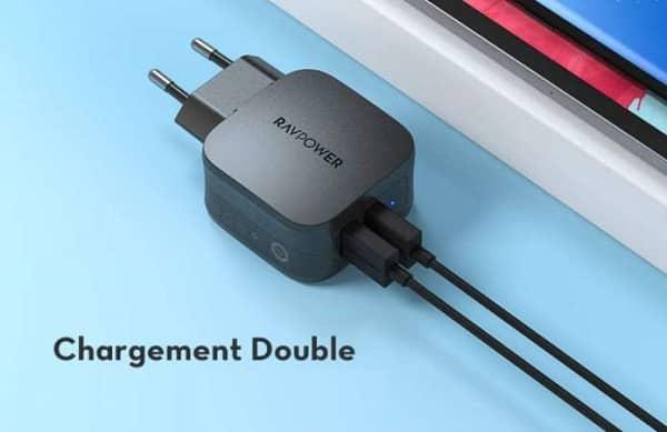 Double Chargeur Usb Ismart 2.0 Secteur Ravpower Rp Pc121