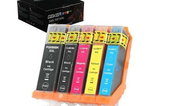 Pack De 5 Cartouches D'encre Geker Pgi 580xxl Cli 581xxl) Compatible Canon Pixma Séries