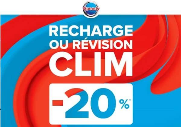 20% de remise sur la recharge ou révision climatisation chez speedy