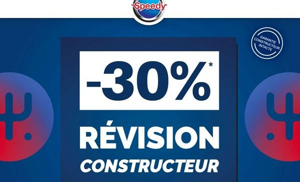 30% De Remise Immédiate Sur La Révision Constructeur Sur Speedy