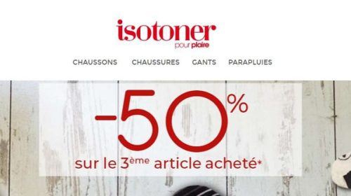 50% Sur Le Troisième Article Isotoner Acheté