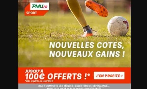 Jusqu'à 100€ remboursés sur vos Paris sportifs (si perdus) sur PMU .fr