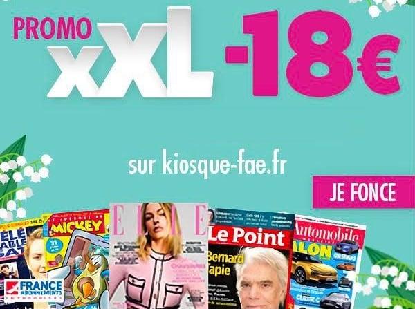 lisez vos magazines pour pas cher grâce à une remise de 18€ sur des dizaines d'abonnements magazines promo xxl